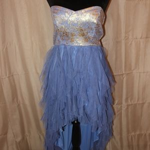 Gold and Periwinkle High Low Dress